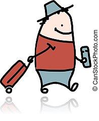 biglietto, uomo, cartone animato, valigia