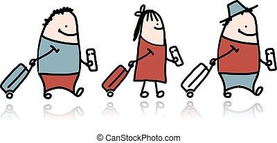 biglietto, valigia, cartone animato, persone