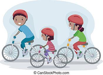 biking, famiglia, insieme