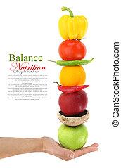 bilanciato, verdura, dieta, frutte