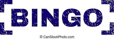 bingo, grunge, francobollo, angoli, dentro, sigillo, textured