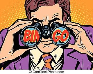 bingo, uomo affari, guardando attraverso binocoli