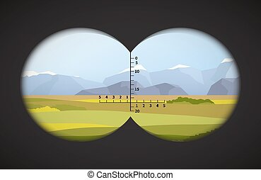 binocolo, campi, paesaggio, vista