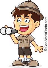 binocolo, esploratore ragazzo