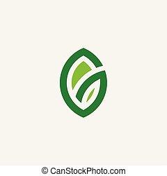 bio, foglia, eco, simbolo, vettore, verde, logotipo, organico, icona