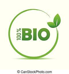 bio, foglia, simbolo, percento, verde, 100, qualità