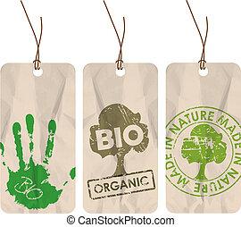 bio, organico, etichette, eco, /, grunge
