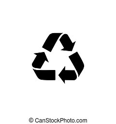 bio, rifiuti, appartamento, eco, concept., segno, isolato, simbolo., vettore, disegno, web, freccia, bianco, riciclare, icon., spreco