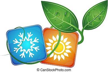 bio, simbolo, condizionamento, aria