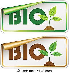 bio, vettore, adesivi