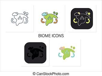 biome, icone, set