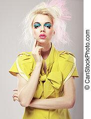 biondo, deco., arte, cospicuo, makeup., glamor, vivido, donna, capelli