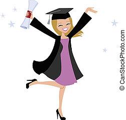 biondo, donna, illustrazione, laureato