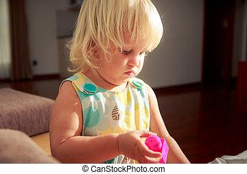 biondo, giocattolo, giochi, ragazza, costruttore