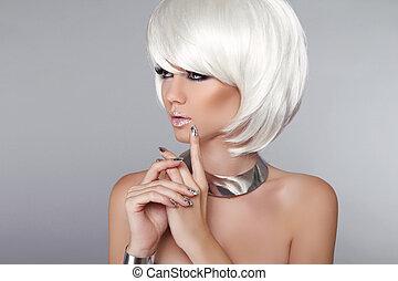 biondo, hair., donna, bellezza, elegante, makeup., moda, isolato, style., voga, fondo., hairstyle., su., corto, grigio, portrait., bianco, taglio capelli, fare, girl.