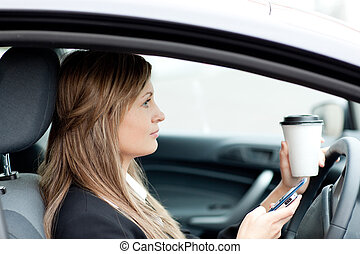 biondo, invio, mentre, testo, donna d'affari, guida