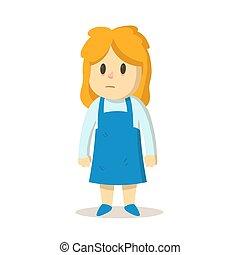 biondo, ragazza, capelli, illustrazione, isolato, vettore, disordinato, fondo., cartone animato, character., divertente, appartamento, bianco