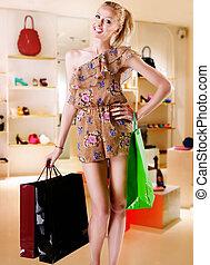 biondo, shopping, ragazza