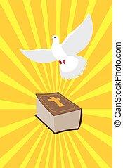 bird., bible., libro, nuovo, colomba, divino, bibbia, light., simboli, puro, book., emanate, santo, vecchio, portato, christianity., raggi, testamento, bianco