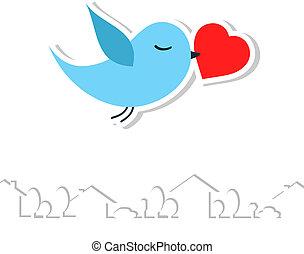 bird., vettore, amore, illustration.