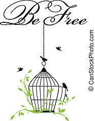 birdcage, aperto, uccelli, libero