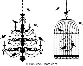 birdcage, candeliere, uccelli