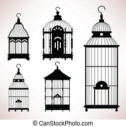 birdcage, gabbia, retro, vendemmia, uccello