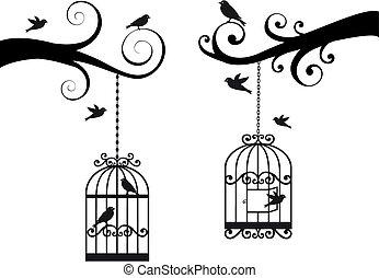 birdcage, uccelli, vettore