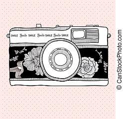 birds., macchina fotografica., foto, pattern., vettore, retro, fondo, floreale, fiori, macchina fotografica, illustration.