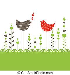 birds., vettore, fondo, illustrazione