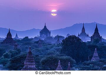 birmania, bagan, tempie, asia., myanmar
