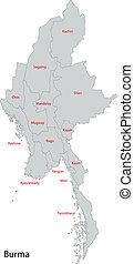 birmania, mappa, grigio