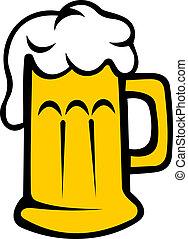 birra chiara, tankard, birra, o, schiumoso