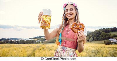 birra, donna, bavarese, tradizionale, cibo, estate, felice