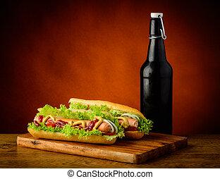 birra, hotdogs