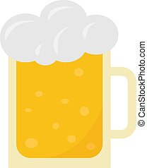 birra, illustrazione, vettore, bianco, vetro, fondo.