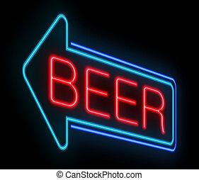 birra, neon, segno.