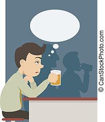 birra, pub, uomo