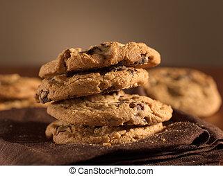 biscotti, colpo, scheggia, cioccolato, fuoco., selettivo