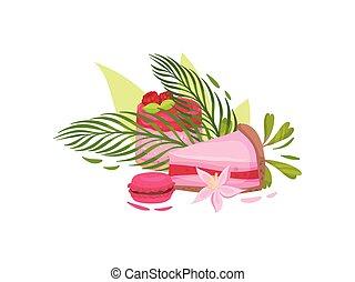 biscotti, fetta, icing., illustrazione, cupcake, bacche, fondo., vettore, torta, bianco, lampone