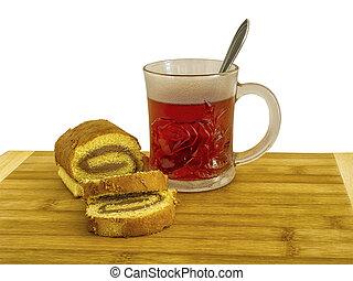 biscotto, roulade, tazza tè, vetro