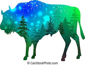 bisonte, foresta verde, silhouette, spazio, dentro