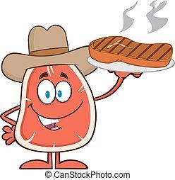 bistecca, carattere, cartone animato, cowboy