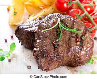 bistecca, delizioso, manzo
