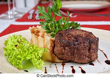 bistecca, fritto, carne