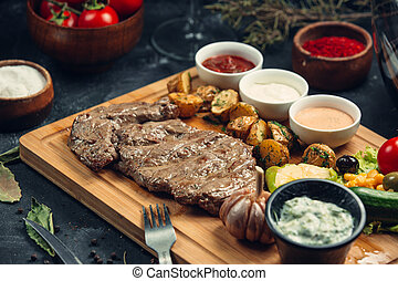 bistecca, succoso, cotto ferri