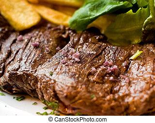 bistecca, succoso, manzo, carne