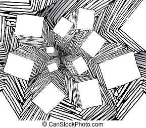 bizzarro, fractal, cartone animato, fondo, come
