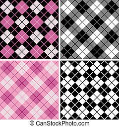 black-pink, argyle-plaid, modello