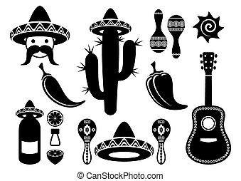 black-vector-mexico-silhouette-icons-collection-isolated